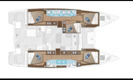 Sunsail Lagoon 505 Layout 5 cabins 5 heads